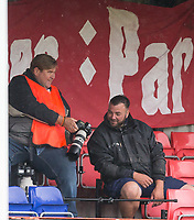 Photographer Ian Morseman & Groundsman during the pre season friendly match between Aldershot Town and Wycombe Wanderers at the EBB Stadium, Aldershot, England on 22 July 2017. Photo by Andy Rowland.