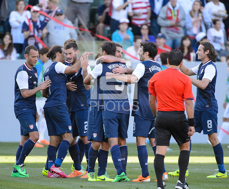 Carson, Ca - Saturday, Feb. 1, 2014: The USA Men's national team defeated South Korea 2-0 during an international friendly. Team Celebration after a Chris Wondolowski goal.