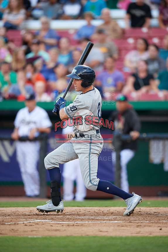 West Michigan Whitecaps second baseman Kody Clemens (21) follows through on a swing during a game against the Kane County Cougars on July 19, 2018 at Northwestern Medicine Field in Geneva, Illinois.  Kane County defeated West Michigan 8-5.  (Mike Janes/Four Seam Images)
