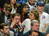 Hillary Clinton supporters are tearful as North Carolina is called for Donald Trump at the Clinton Election Night Event at the Jacob K. Javits Convention Center in New York, New York on Wednesday, November 9, 2016.<br /> Credit: Ron Sachs / CNP<br /> <br /> (RESTRICTION: NO New York or New Jersey Newspapers or newspapers within a 75 mile radius of New York City)