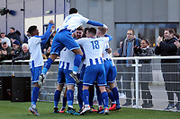 Alex Akrofi of Aveley is congratulated after scoring the second goal during Aveley vs Chelmsford City, Buildbase FA Trophy Football at Parkside on 8th February 2020