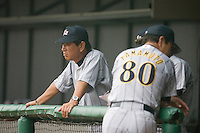 19 August 2007: Team manager Senichi Hoshino watchs the game next to coach Koji Yamamoto during the Japan 4-3 victory over France in the Good Luck Beijing International baseball tournament (olympic test event) at the Wukesong Baseball Field in Beijing, China.