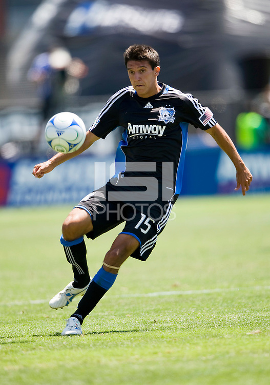 August 2nd, 2009: San Jose Earthquakes Shea Salinas puts down the ball during 2nd half against Seattle Sounders at Buck Shaw Stadium in Santa Clara, California. San Jose Earthquakes defeated Seattle Sounders 4 - 0