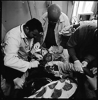 Rafah, Gaza Strip, Jan 15 2009.Layla Abul Hussein, 60, was hit in the neck and the chest by shrapnel from an Israeli shell while siting inside her house in Hay Nasser, near Rafah.