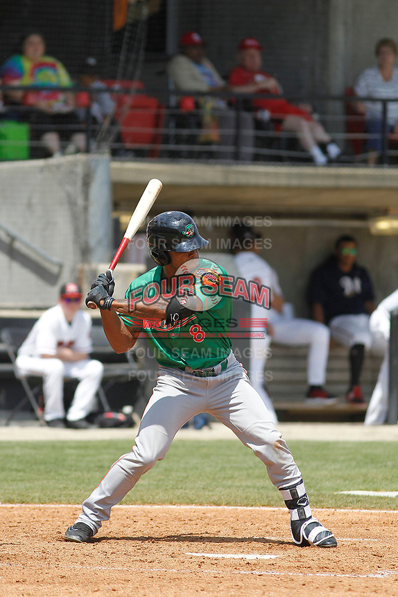 Down East Wood Ducks outfielder Ledarious Clark (8) at bat during a game against the Carolina Mudcats  on April 27, 2017 at Five County Stadium in Zebulon, North Carolina. Carolina defeated Down East 9-7. (Robert Gurganus/Four Seam Images)