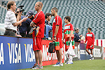 28 May 2010: Players (in red, from left) Jay DeMerit, Clint Dempsey, Jose Torres, and Herculez Gomez talk to the media after practice. The United States Men's National Team held a practice session at Lincoln Financial Field in Philadelphia, Pennsylvania the day before playing Turkey in their final home friendly prior to the 2010 FIFA World Cup in South Africa.