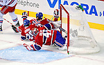 23 January 2010: The net gets knocked off its moorings in the first period of play between the Montreal Canadiens and the New York Rangers at the Bell Centre in Montreal, Quebec, Canada. The Canadiens defeated the Rangers 4-2. Mandatory Credit: Ed Wolfstein Photo