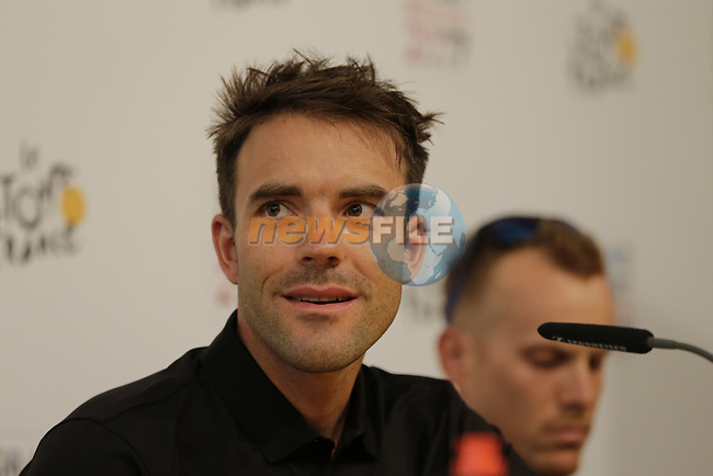 BMC Racing Team press conference before the 104th edition of the Tour de France 2017, Dusseldorf, Germany. 29th June 2017.<br /> Picture: Eoin Clarke   Cyclefile<br /> <br /> All photos usage must carry mandatory copyright credit (&copy; Cyclefile   Eoin Clarke)