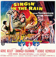 Prod DB © MGM / DR<br /> CHANTONS SOUS LA PLUIE (SINGIN' IN THE RAIN) de Stanley Donen et Gene Kelly 1954 USA<br /> affiche originale US 6-sheet<br /> Debbie Reynolds, Cyd Charisse et Gene Kelly