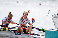 "Glasgow, Scotland, ""2nd August 2018"", Swiss Light Women's Double Scull, 'Throw their empty water bottles' into the net at the European Games, Rowing, Strathclyde Park, North Lanarkshire, © Peter SPURRIER/Alamy Live News"