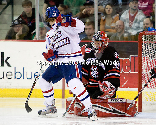 Ben Holmstrom (UMass-Lowell - 21),Brad Thiessen (Northeastern - 39) - The Northeastern University Huskies defeated the University of Massachusetts-Lowell Riverhawks 3-1 on Saturday, February 28, 2009, at the Paul E. Tsongas Arena in Lowell, Massachusetts.