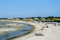 Vacationers at Corporation Beach, Dennis, Cape Cod, Massachusetts, USA.