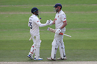 Ravi Bopara congratulates Essex batsman Nick Browne (R) on reaching his century during Nottinghamshire CCC vs Essex CCC, Specsavers County Championship Division 1 Cricket at Trent Bridge on 1st July 2019