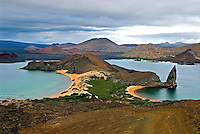 This view of Bartolomé Island is one of the iconic images of the Galápagos islands. The small tuff cone known as Pinnacle Rock is the best known of the island's features and was a prominent target used by US airmen flying training missions out of Baltra Island during WWII. They missed.