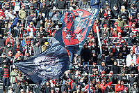 WASHINTON, DC - FEBRUARY 29: Washington, D.C. - February 29, 2020: D.C. United Fans during the game. The Colorado Rapids defeated D.C. United 2-1 during their Major League Soccer (MLS)  match at Audi Field during a game between Colorado Rapids and D.C. United at Audi FIeld on February 29, 2020 in Washinton, DC.