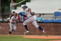 Danville Braves left fielder Jared James (5) runs to first base during a game against the Johnson City Cardinals at Howard Johnson Field at Cardinal Park on July 26, 2016 in Johnson City, Tennessee. The Braves defeated the Cardinals 10-8. (Tony Farlow/Four Seam Images)