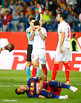 Spanish referee Carlos Del Cerro Grande show red card to Sevilla CF's Ever Banega during Spanish Kings Cup Final match. May 22,2016. (ALTERPHOTOS/Acero)