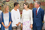 "Queen Letizia of Spain attends a reception to the representatives of the foundation ""Lo que de verdad importa"" during royal audiences at Zarzuela Palace in Madrid, September 03, 2015. <br /> (ALTERPHOTOS/BorjaB.Hojas)"