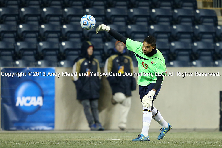 13 December 2013: Maryland's Zack Steffen. The University of Maryland Terripans played the University of Virginia Cavaliers at PPL Park in Chester, Pennsylvania in a 2013 NCAA Division I Men's College Cup semifinal match. Maryland won the game 2-1.