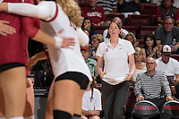 Stanford, CA - August 26, 2016: Stanford falls to San Diego, 25-22, 25-19, 18-25, 21-25, 11-25, in the season opener at Maples Pavilion.