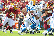 Landover, MD - September 16, 2018: Indianapolis Colts running back Jordan Wilkins (20) runs the ball during the  game between Indianapolis Colts and Washington Redskins at FedEx Field in Landover, MD.   (Photo by Elliott Brown/Media Images International)