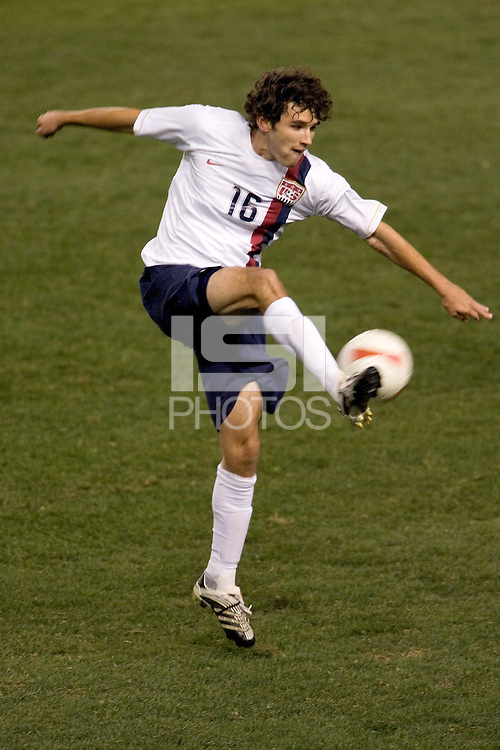 USA defender (16) Michael Parkhurst passes a ball down field in the second half. The United States defeated Sweden 2-0 during an international friendly at the Home Depot Center in Carson, California on Saturday, January 19, 2008.