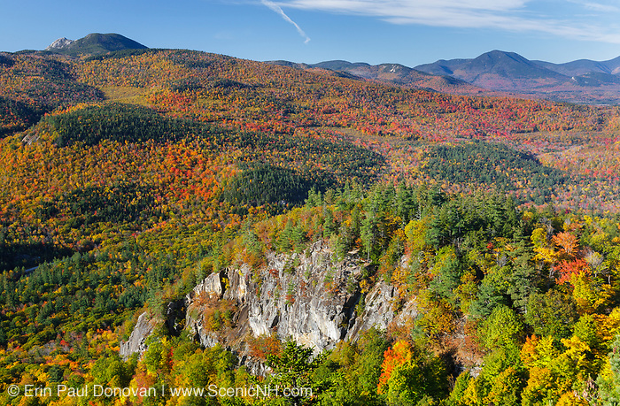 Autumn foliage from the Boulder Loop Trail. This trail is located along the Kancamagus Highway (route 112), which is one of New England's scenic byways in the White Mountains, New Hampshire USA. Mount Chocorua is in the distance.