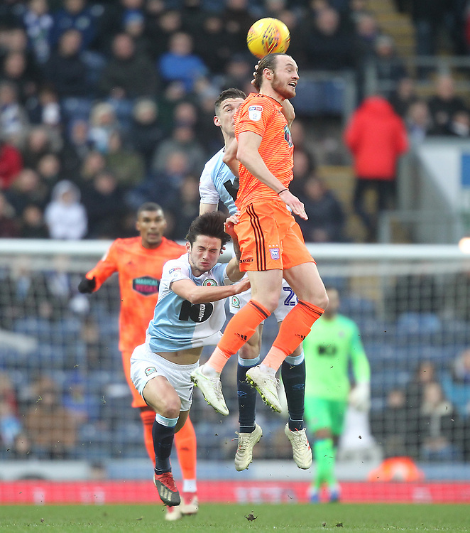 Blackburn Rovers Darragh Lenihan jumps with Ipswich Town's Will Keane<br /> <br /> Photographer Mick Walker/CameraSport<br /> <br /> The EFL Sky Bet Championship - Blackburn Rovers v Ipswich Town - Saturday 19 January 2019 - Ewood Park - Blackburn<br /> <br /> World Copyright &copy; 2019 CameraSport. All rights reserved. 43 Linden Ave. Countesthorpe. Leicester. England. LE8 5PG - Tel: +44 (0) 116 277 4147 - admin@camerasport.com - www.camerasport.com