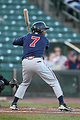Gwinnett Braves outfielder Jose Constanza #7 at bat during a game against the Rochester Red Wings at Frontier Field on May 5, 2011 in Rochester, New York.  Rochester defeated Gwinnett by the score of 3-2.  Photo By Mike Janes/Four Seam Images