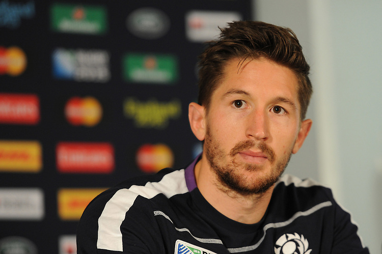 Henry Pyrgos of Scotland speaks to the media after Match 18 of the Rugby World Cup 2015 between Scotland and USA - 27/09/2015 - Elland Road, Leeds<br /> Mandatory Credit: Rob Munro/Stewart Communications