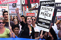 A Stop the War demonstration called in protest at the bombardment of the Lebanon and Gaza by the Israeli army.<br /> London, England. 5th August 2006.