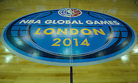 15.01.2014 London, England.  Court detail during the NBA Media Day, prior  to the NBA Basketball Global Game between Atlanta Hawks v Brooklyn Nets taking place at the O2 Arena London Jan 16th