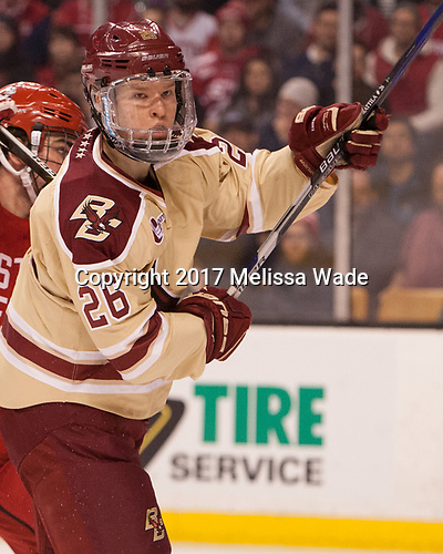 Julius Mattila (BC - 26) - The Boston University Terriers defeated the Boston College Eagles 3-1 in their opening Beanpot game on Monday, February 6, 2017, at TD Garden in Boston, Massachusetts.
