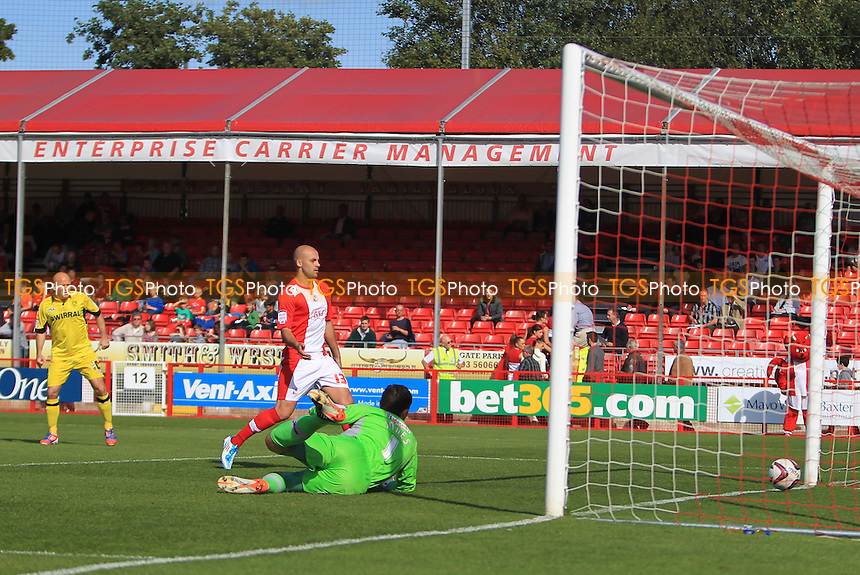 Danny Holmes of Tranmere Rovers Scores opener - Crawley Town vs Tranmere Rovers - NPower League One Football at the Broadfield Stadium, Crawley, West Sussex - 22/09/12 - MANDATORY CREDIT: Simon Roe/TGSPHOTO - Self billing applies where appropriate - 0845 094 6026 - contact@tgsphoto.co.uk - NO UNPAID USE