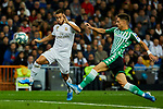 Eden Hazard of Real Madrid and Alex Moreno of Real Betis Balompie during La Liga match between Real Madrid and Real Betis Balompie at Santiago Bernabeu Stadium in Madrid, Spain. November 02, 2019. (ALTERPHOTOS/A. Perez Meca)