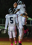 WATERTOWN, CT. 11 October 2019-101119BS373 - Ansonia's Shykeem Harmon #3 celebrates his touchdown with teammates Ansonia's Noah Wagnblas #14 and Jadin Blackwell #5, during a NVL game of the unbeatens between Ansonia and Watertown at Watertown High School on Friday. Bill Shettle Republican-American