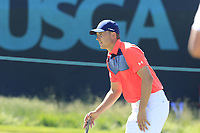Jordan Spieth (USA) on the 16th green during Thursday's Round 1 of the 118th U.S. Open Championship 2018, held at Shinnecock Hills Club, Southampton, New Jersey, USA. 14th June 2018.<br /> Picture: Eoin Clarke | Golffile<br /> <br /> <br /> All photos usage must carry mandatory copyright credit (&copy; Golffile | Eoin Clarke)