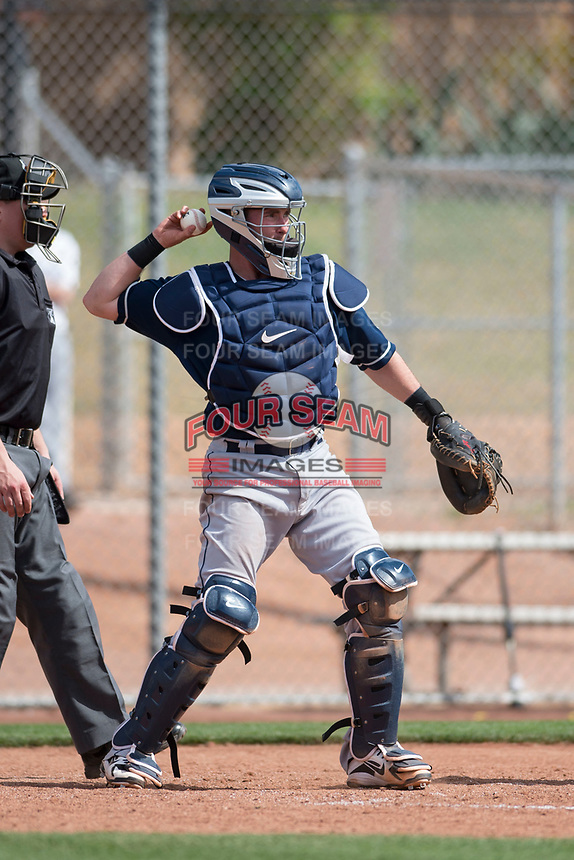 Cleveland Indians catcher Logan Ice (1) during a Minor League Spring Training game against the San Francisco Giants at the San Francisco Giants Training Complex on March 14, 2018 in Scottsdale, Arizona. (Zachary Lucy/Four Seam Images)