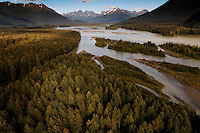 Taku River in the area of the lodge which is on the National Historic Register.  Wilderness and a braided river flow from surrounding glacier melts.