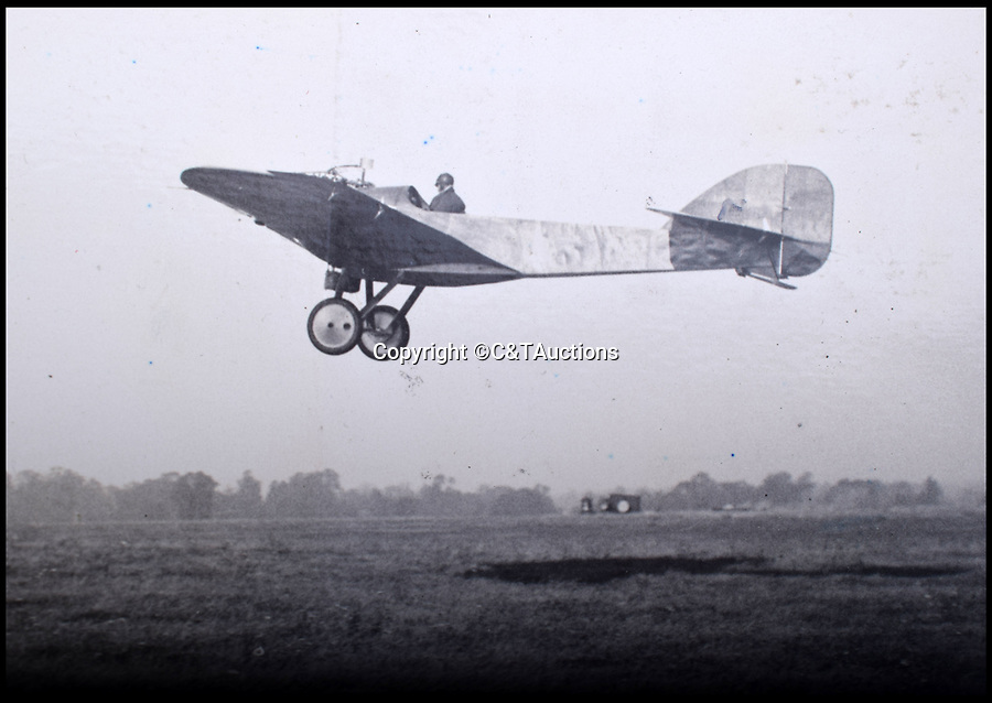 BNPS.co.uk (01202 558833)<br /> Pic: C&TAuctions/BNPS<br /> <br /> A.Q.Cooper in his Hawk.<br /> <br /> A fascinating photo album which documents the adventures of a captain in the fledgling Royal Naval Air Service has been unearthed after 100 years.<br /> <br /> The photos were compiled by Captain Denis Carey who was based in Maidstone, Kent, and they provide a fascinating insight into the air arm of the Royal Navy during the First World War.<br /> <br /> They show the thrills and spills of the pioneering early days of aviation in a world before health and safety had been invented.