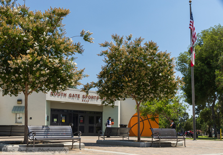 A side view of the South Gate Sports Center with a boy holding a basketball standing next to the pained mural of a basketball.