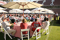 9 August 2007: Athletic Director Bob Bowlsby talks to guests of the Kickoff Dinner at Stanford Stadium in Stanford, CA.