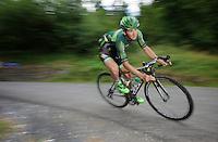 Bryan Coquard (FRA/Europcar) descending the Col de Chaussy (C1/1533m/14.4km@6.3%)<br /> <br /> stage 19: St-Jean-de-Maurienne - La Toussuire / Les Sybelles   (138km)<br /> Tour de France 2015