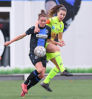 20191123 – BRUGGE, BELGIUM : Brugge's Charlotte Laridon pictured in a duel with Gent's Silke Vanwynsberghe (r) during a women soccer game between Dames Club Brugge and K AA Gent Ladies on the ninth matchday of the Belgian Superleague season 2019-2020 , the Belgian women's football  top division , saturday 23 th November 2019 at the Jan Breydelstadium – terrain 4  in Brugge  , Belgium  .  PHOTO SPORTPIX.BE | DAVID CATRY