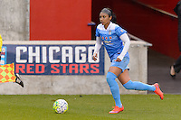 Bridgeview, IL, USA - Sunday, May 1, 2016: Chicago Red Stars defender Samantha Johnson (16) during a regular season National Women's Soccer League match between the Chicago Red Stars and the Orlando Pride at Toyota Park. Chicago won 1-0.