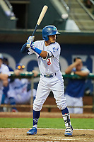 Jeremy Arocho (8) of the Ogden Raptors bats during a game against the Grand Junction Rockies at Lindquist Field on September 7, 2018 in Ogden, Utah. The Rockies defeated the Raptors 8-5. (Stephen Smith/Four Seam Images)
