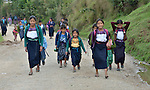 Children on their way to school in Tuixcajchis, a small Mam-speaking Maya village in Comitancillo, Guatemala.