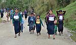 Children on their way to school in Tuixcajchis, a small Mam-speaking Maya village in Comitancillo, Guatemala.