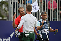 Brandon Stone (RSA) gets celebrates a round of 60 for -20 with Dean Burmester (RSA) during the Final Round of the ASI Scottish Open 2018, at Gullane, East Lothian, Scotland.  15/07/2018. Picture: David Lloyd | Golffile.<br /> <br /> Images must display mandatory copyright credit - (Copyright: David Lloyd | Golffile).