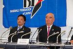 (L-R)  Masayuki Naito,  Yoshinobu Suzuki (BFJ),<br /> SEPTEMBER 9, 2013 - Baseball / Softball :<br /> Baseball Federation of Japan executives and Japan Softball Association executives attend the press conference about Baseball and Softball not being selected from the Olympic summer Games in 2020 at  Japan Baseball Center, Sapia Tower in Tokyo, Japan. (Photo by AFLO SPORT)